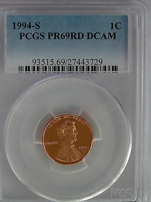 PCGS 1994 S Proof LINCOLN Cent Penny PR69 DCAM PRICE GUIDE$27*US Mint Coin PF*1c