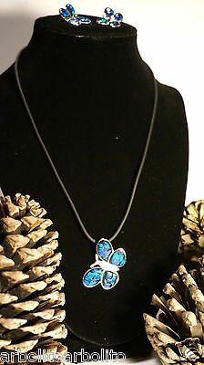 Silver Jewerly Set Butterfly w/ Blue Opal Handcrafted Mexican/Juego de Plata