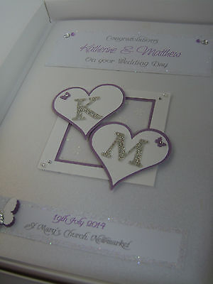 Luxury Personalised Wedding Day/Engagement Card, Swarovski crystals, boxed
