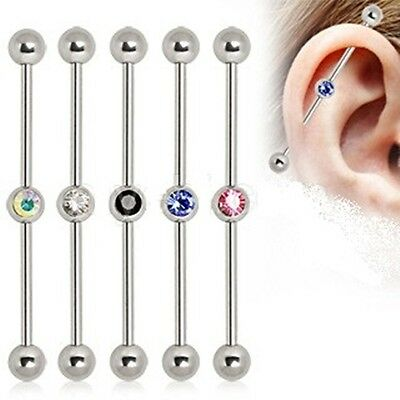 New Surgical Steel Industrial Scaffold Piercing Bar with Colour Gem Ball 38mm