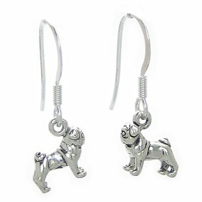 Pug TINY dog earrings sterling silver .925 pair Pugs Dogs drops SSLP3554--HOOKS