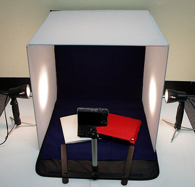 "20"" 50cm Photo Studio Table Top Lighting Kit With Cube Tent Soft Box 4 Backdrops"