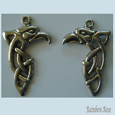 PEWTER CHARM #272 Celtic EAGLE HEAD 30mm x 2  (one facing pair)