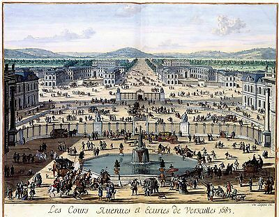 2 Posters Palace Chateau Jardin of Versailles from Palace d'Armes Pictures NEW