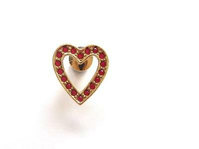 VINTAGE 80'S AVON GOLD TONE RED CRYSTAL VALENTINES LOVE HEART LAPEL BROOCH