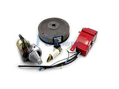 New  GX340 GX390 ELECTRIC START KIT STARTER MOTOR FLYWHEEL SWITCH V ST19+