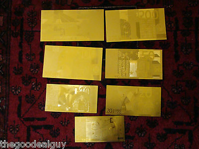 EURO CURRENCY GOLD SET Bank Note 24KT GOLD FOIL 7 BILLS SET 5 - 500 EUROS