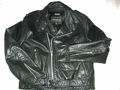 Vintage Wilson Perfecto Black Heavy Belted Leather Riding Jacket-Excellent-L
