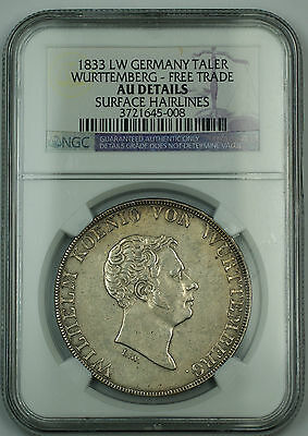 1833 LW Germany Silver Taler Wurttemberg NGC AU Details *Extremely Rare*