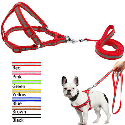 Safety Reflective Nylon Dog Strap Harness and Walking Lead Set No Pull