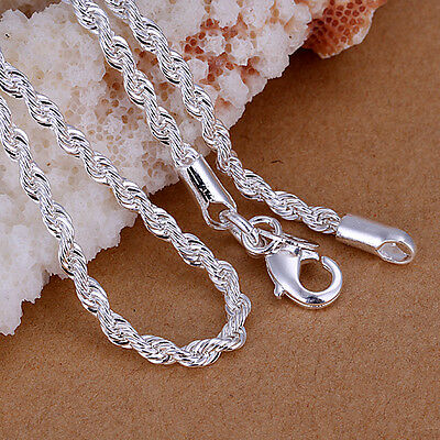 "Solid Silver Lovely Flash Wrest Rope Woman Chain Men Necklace 3MM 16""-24"" C014"