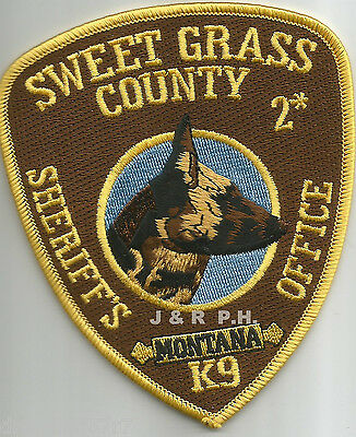 "Sweet Grass Co. Sheriff  K-9, MT  (4"" x 4.5"" size)  shoulder police patch (fire)"