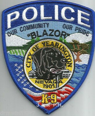 "Yearington  K-9, NV  (3.75"" x 4.5"" size)   shoulder police patch (fire)"