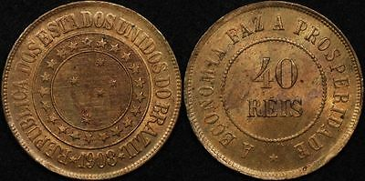 Brazil 1908 40 Reis KM# 491 Uncirculated