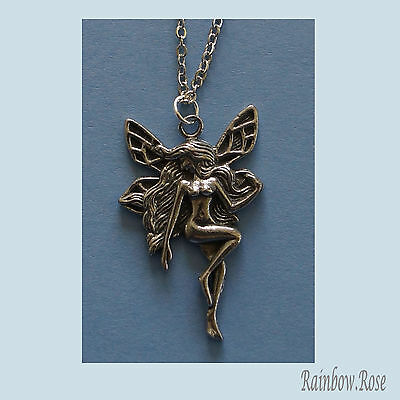 Chain Necklace #113 Pewter FAIRY (32mm x 20mm)
