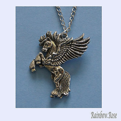 Chain Necklace #156 Pewter Pegasus (33mm long x 30mm wide)