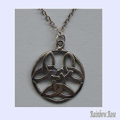 Chain Necklace #260 Pewter CELTIC CIRCLE KNOTS (20mm)