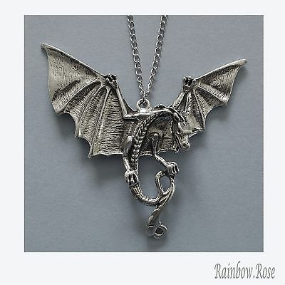 Pewter Necklace on Chain #320 HUGE DRAGON 70mm x 65mm