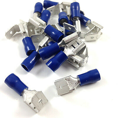 6.3mm BLUE PIGGY BACK ELECTRICAL CRIMP TERMINAL CONNECTORS - SPADE - AUTO