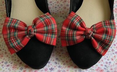 Pair Red Royal Stewart Tartan Check Cotton Shoe Clips Retro Bows Vintage Style