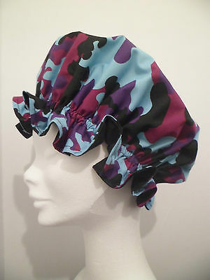 Exclusive Shower Cap Bath Hat. Camouflage, Black Turquoise Purple. Perfect Gift.