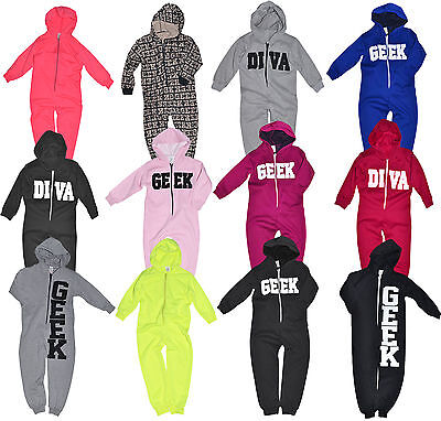 Boys Girls 1Onesie1 Kids Hooded Zip Jumpsuit Pyjama All In One Ages 1 - 14 Years