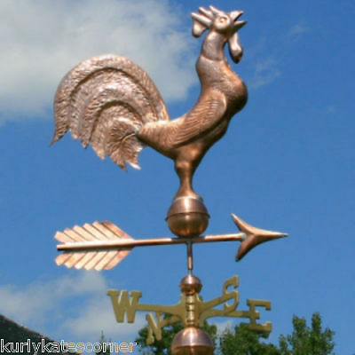 Awsome Rooster Weathervane W/Copper Balls & Brass Directionals Made In Usa #246