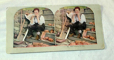 TURN OF CENTURY 1900 STEREOVIEW STEREO VIEW CARD - MEDITATIONS OF PAT OLD MAN