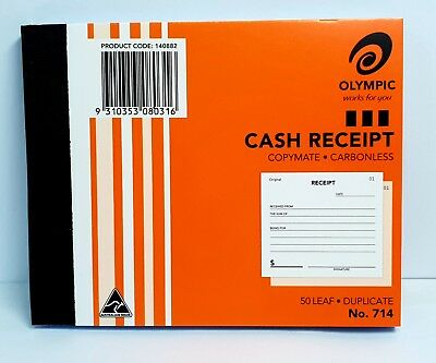 10 Pack Olympic #714 Duplicate Cash Receipt Book - AO140882