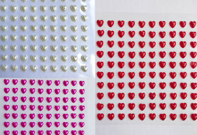 100 6mm Pearl Hearts Self Adhesive Pearl Gems Stickers Stick on Wedding Crafts
