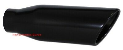 """Black Stainless Steel Exhaust Tip 2.5"""" Inlet - 4"""" Outlet - 12"""" Long"""