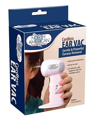Cordless Ear Wax Vac Cleaner Remover Clean Removal Safe Hygenic Tips Suction NEW