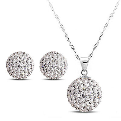 925 Sterling SILVER Womens BALL NECKLACE Earrings SET Swarovski CRYSTAL SEF009