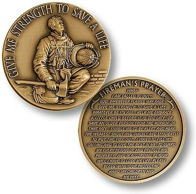 Firefighter in Prayer Challenge Coin