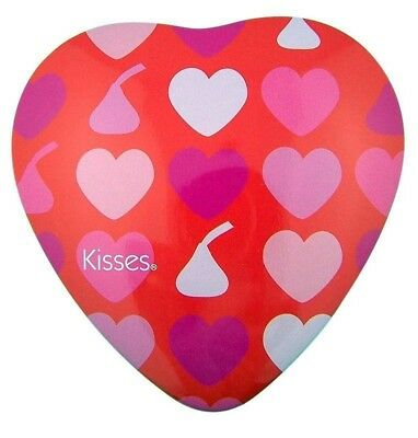 """Hearts & Kisses 3 1/2"""" Heart Shape Pink Red Tin for Candy or Valentines Day Gift"""