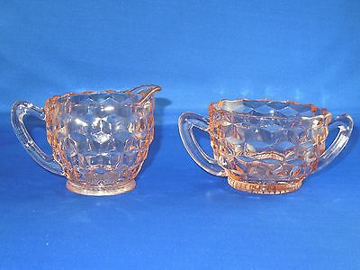Antique Jeanette Depression Era Glass Cubist Pattern Pink Sugar Bowl and Creamer