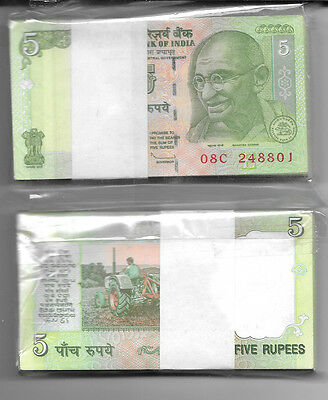 India 100 X 5 Rupees Banknote Full Bundle Unc (100 Notes)