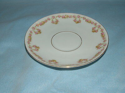 Antique M ZDEKAUER Austria BONE CHINA Tea Cup SAUCER Floral Pattern GOLD TRIM