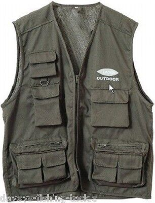 Fladen Green Fly Fishing Vest Multi Pocket Trout Waistcoat Hunting Jacket Wading