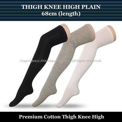 68cm Thigh Knee High Socks Ladies Size 2-8 - Plain colour