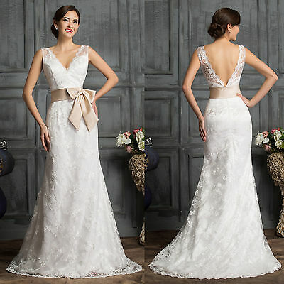 White Lace Long Prom Bridesmaid Wedding Gown Formal Bridal Evening Party Dresses