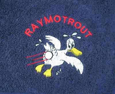 Duck & Ball Embroidered Personalised Cartoon Golf Towel Gift