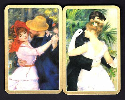Vintage Swap/Playing Cards - Waltzing Couples Pair (Gold Borders)