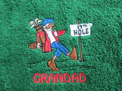 19th Hole Embroidered Personalised Golf Towel  Birthday Fathers Day Gift