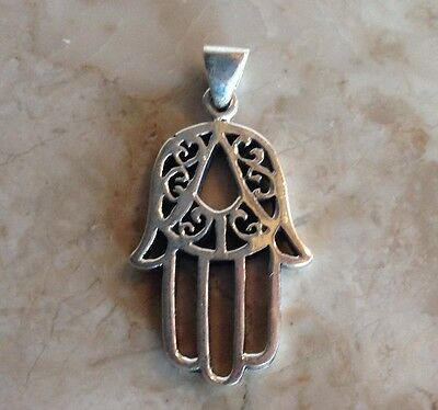 Vintage Hand Of Fatima Hamsa Sterling Good Luck Protection Amulet Necklace Cord