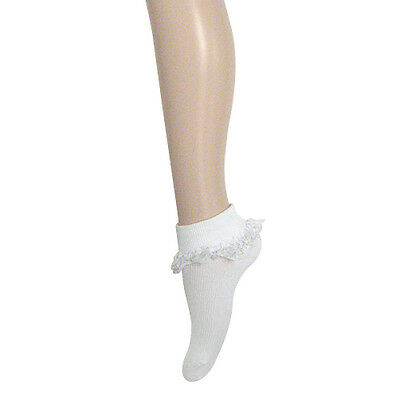 Lace Frill Socks White Color Available Size 2-8 (Adult), 13-3 & 9-12  (Child)