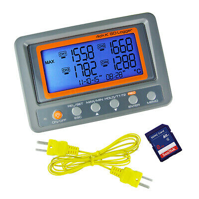 K Type Thermometer Thermocouple 4 Channel Meter SD Card Logger -328 to 2498°F