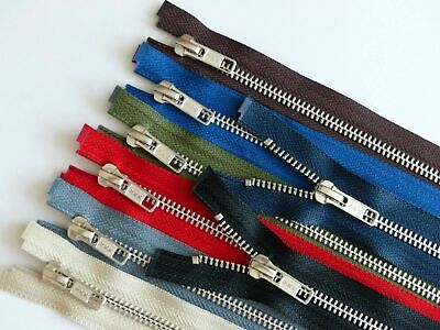 YKK Metal Silver Teeth Open Ended Zip - Choice of Colour and Length.