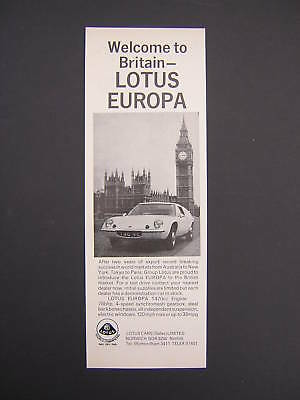 Lotus Europa Advert from 1969 - Original Ad