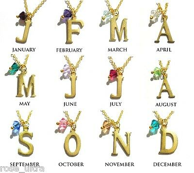 Personalised Initial Letter Birth Stone Necklace made using Swarovski Elements